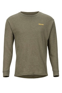Men's Woodcut Long-Sleeve T-Shirt, Olive Heather, medium