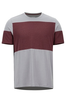 Gualala Point SS Tee, Grey Storm/Burgundy, medium