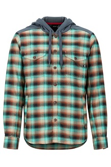 Men's Oheny Heavyweight Flannel Hoody, Terracotta/Steel Onyx, medium