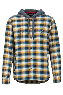 Men's Oheny Heavyweight Flannel Hoody, Golden Leaf/Steel Onyx, medium