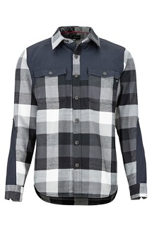 Men's Needle Peak Midweight Flannel Long-Sleeve Shirt, Black/Dark Steel, medium