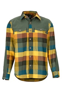 Men's Needle Peak Midweight Flannel Long-Sleeve Shirt, Crocodile, medium