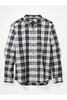 Men's Harkins Lightweight Flannel Long-Sleeve Shirt, Black, medium