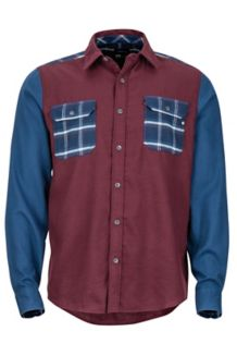 Pinyon Heavyweight Flannel LS Shirt, Burgundy/Denim, medium