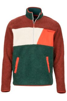 Noland 1/2 Zip Fleece Jacket, Dark Rust/Mallard Green, medium