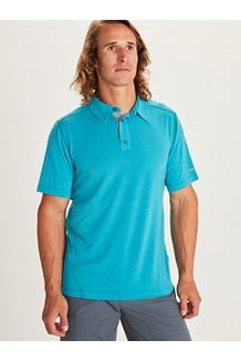 Men's Wallace Short-Sleeve Polo Shirt, Enamel Blue Heather, medium
