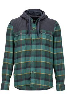 Silos Heavyweight Flannel LS Shirt, Mallard Green/Dark Steel, medium