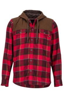 Silos Heavyweight Flannel LS Shirt, Burgundy/Rich Brown, medium