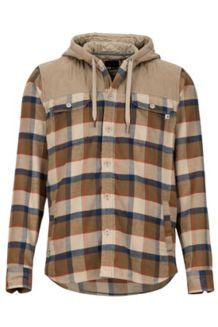 Silos Heavyweight Flannel LS Shirt, Desert Khaki/Dark Khaki, medium