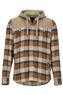 Silos Heavyweight Flannel LS Shirt, Desert Khaki/Dark Khaki, medium