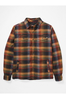 Men's Ridgefield Heavyweight Flannel Long-Sleeve Shirt, True Black, medium