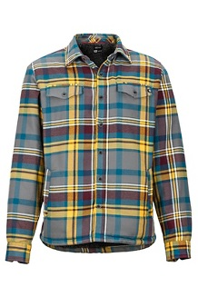 Men's Ridgefield Long-Sleeve Flannel Shirt, Bright Steel, medium