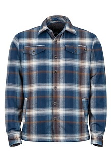 Men's Ridgefield Long-Sleeve Flannel Shirt, Arctic Navy, medium