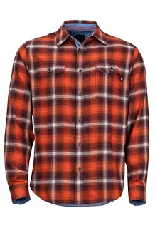 Jasper Midweight LS Flannel Shirt, Burgundy, medium