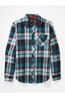 Men's Anderson Lightweight Flannel Long-Sleeve Shirt, Black, medium