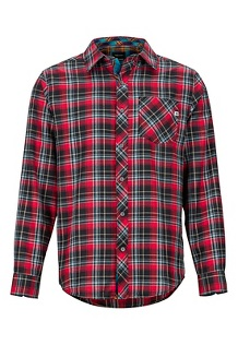 Men's Anderson Lightweight Flannel Long-Sleeve Shirt, Team Red, medium