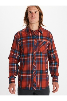 Men's Anderson Lightweight Flannel Long-Sleeve Shirt, Burgundy, medium
