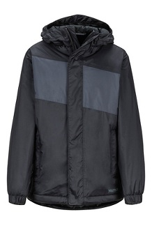 Boys' Precip Eco Insulated Jacket, Black/Dark Steel, medium