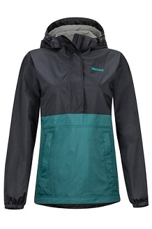 Women's PreCip Eco Anorak, Black/Deep Teal, medium