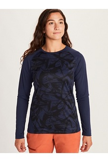 Women's Crystal Long-Sleeve Shirt, Arctic Navy Race Line, medium