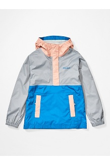 Girls' PreCip Eco Anorak, Sleet/Pink Lemonade/Classic Blue, medium