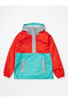 Girls' PreCip Eco Anorak, Victory Red/Ceramic Blue Sleet, medium