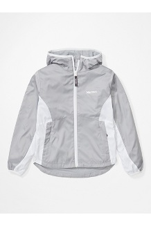 Girls' Trail Wind Hoody, Sleet/White, medium