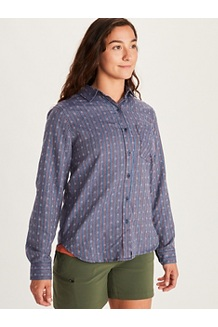 Women's Seaside Ultra Lightweight Flannel Long-Sleeve Shirt, Arctic Navy, medium