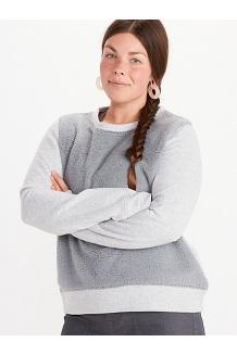 Women's Crew Neck Sherpa Sweatshirt, Grey Storm Heather, medium