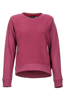 Women's Crew Neck Sherpa Sweatshirt, Dry Rose, medium