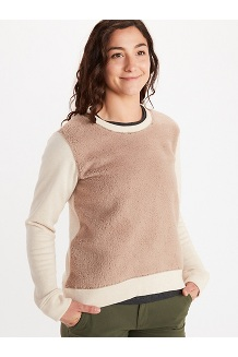 Women's Crew Neck Sherpa Sweatshirt, Papyrus Heather/Sea Salt, medium
