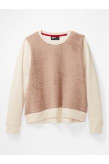 Women's Crew Neck Sherpa Sweatshirt, Papyrus Heather/Sea Salt, medium
