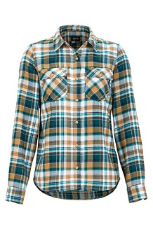 Women's Bridget Midweight Flannel Long-Sleeve Shirt, Deep Teal, medium