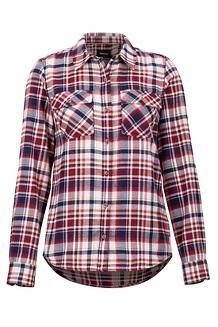 Women's Bridget Midweight Flannel Long-Sleeve Shirt, Claret, medium
