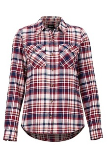 Women's Bridget Midweight Flannel Long-Sleeve Shirt, Claret, medium