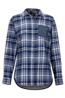 Women's Lakota Lightweight Flannel Long-Sleeve Shirt, Bright Steel/Storm Chambray, medium