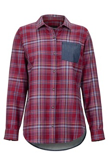 Women's Lakota Lightweight Flannel Long-Sleeve Shirt, Claret/Storm Chambray, medium