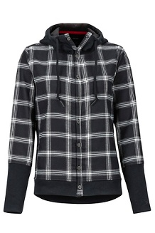 Women's Stowe Heavyweight Flannel Long-Sleeve Shirt, Black, medium