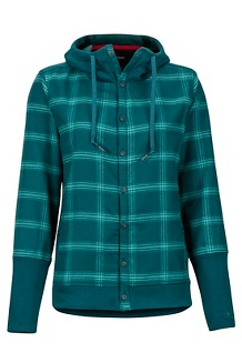 Women's Stowe Heavyweight Flannel Long-Sleeve Shirt, Deep Teal, medium