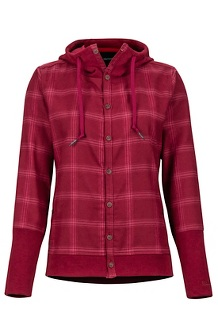 Women's Stowe Heavyweight Flannel Long-Sleeve Shirt, Claret, medium