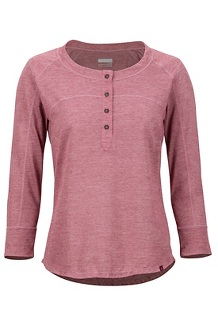 Women's Kerr 3/4-Sleeve Henley, Claret, medium