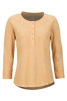 Women's Kerr 3/4-Sleeve Henley, Yellow Gold, medium