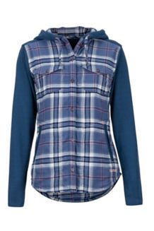 Women's Reagan Midweight Flannel Hoody, Storm, medium