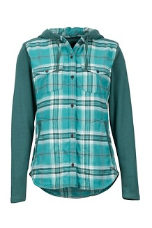 Women's Reagan Midweight Flannel Hoody, Mallard Green, medium