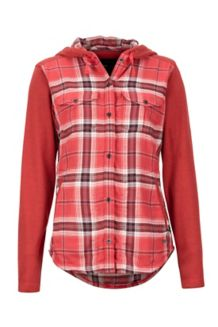 Women's Reagan Midweight Flannel Hoody, Desert Red, medium