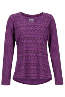 Women's Simone LS Shirt, Bright Violet Meta Geo, medium