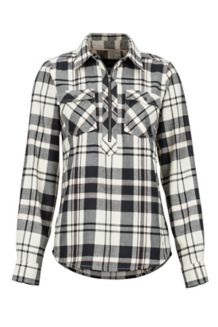 Women's Joss Lightweight Flannel LS Shirt, Black, medium