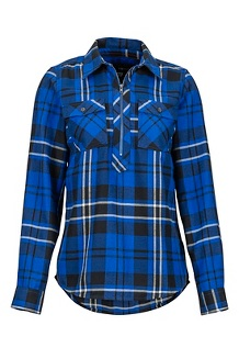 Women's Joss Lightweight Flannel LS Shirt, Surf, medium