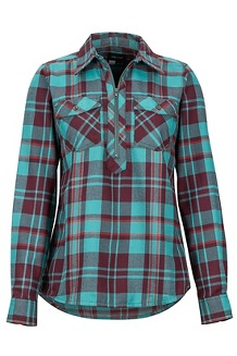 Women's Joss Lightweight Flannel LS Shirt, Mallard Green, medium
