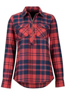Women's Joss Lightweight Flannel LS Shirt, Desert Red, medium